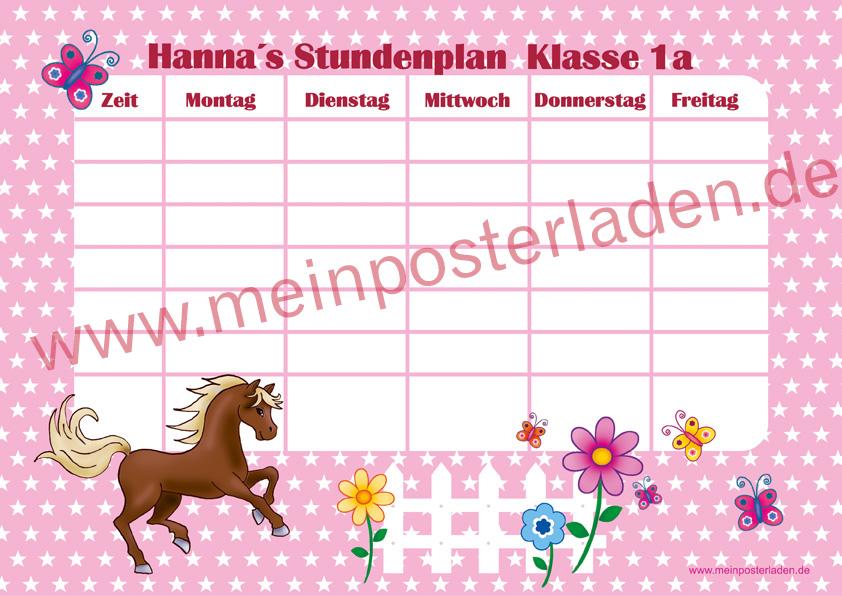 A4 Stundenplan mit Sternchen in rosa mit niedlichen Pony , Blumen und Schmetterlingen, optional wiederbeschreibbar