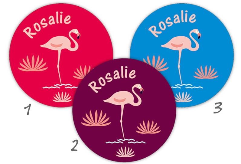 runde Namensaufkleber, Motiv: Flamingo,  hochwertige, umweltfreundliche PVC-freie Folie
