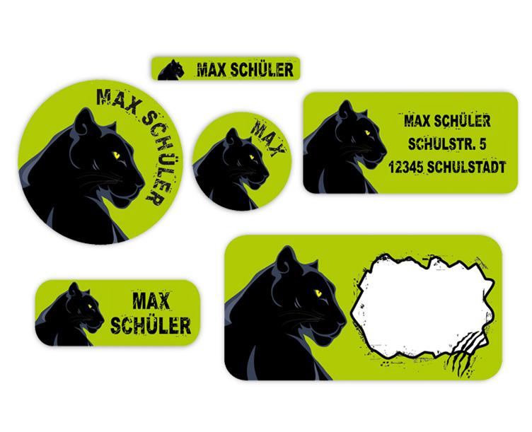 Schulaufkleber - Set: Schwarzer Panther, mit runden und eckigen Namensaufkleber, Heftaufkleber, Stifteaufkleber, Adressaufkleber, umweltfreundlich - PVC-frei und ungiftige Farben