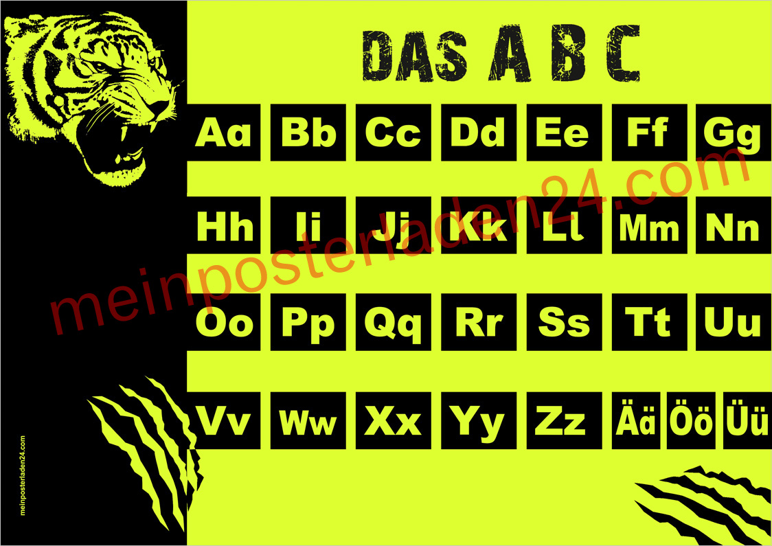 Neon ABC Lernposter: Tiger