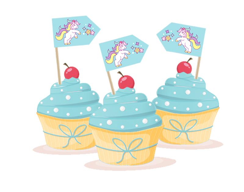 Kuchenfähnchen Einhorn - selbstklebende Deko für Cupcakes, für Kinderfeiern