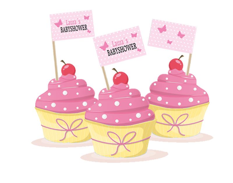 Kuchenfähnchen - selbstklebende Deko für Cupcakes, für Babyparty