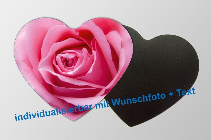 mit Foto und Wunschtext personalisierbare Magnetfotos - Herzform - für Hochzeiten, Familienfeiern, Einschulung, Urlaub, Gastgeschenke