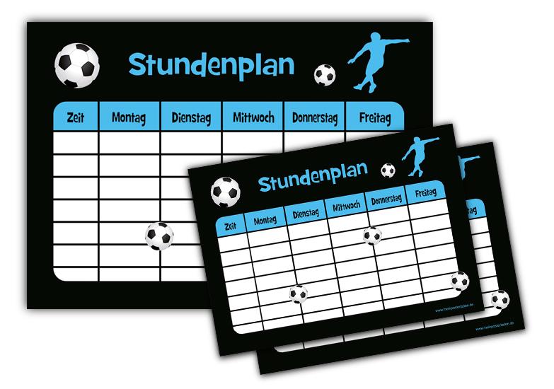 3 er Stundenplan-Set: Fußball - blau