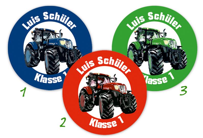 runde Namensaufkleber, Motiv: Traktor,  hochwertige, umweltfreundliche PVC-freie Folie