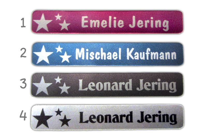 Metallic Stifteaufkleber 0,7 x 4,5 cm - gedruckt auf silbermetallic Folie - mit Namen personalisierbar - Motiv: Sterne