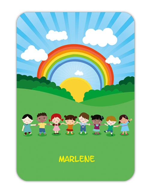 Trinkflaschenaufkleber 10 x 7 cm  - Motiv: Kinder der Welt - hochwertige PVC-freie Folie, ungiftige Farben - mit Namen personalisierbar
