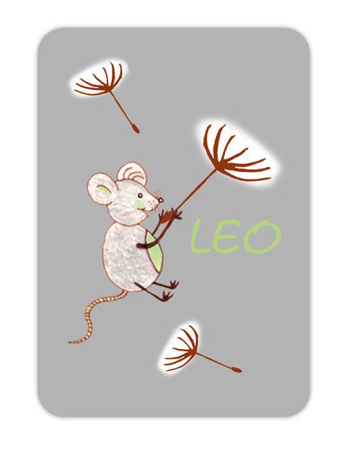 Trinkflaschenaufkleber 10 x 7 cm  - Motiv: Maus mit Pusteblumenschirmchen - hochwertige PVC-freie Folie, ungiftige Farben - mit Namen personalisierbar