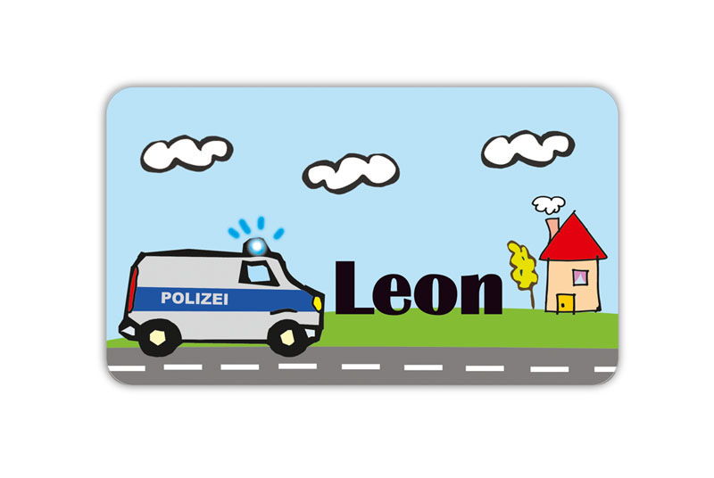 Brotdosenaufkleber 12 x 7 cm  - Motiv: Polizei - hochwertige PVC-freie Folie, ungiftige Farben - mit Namen personalisierbar