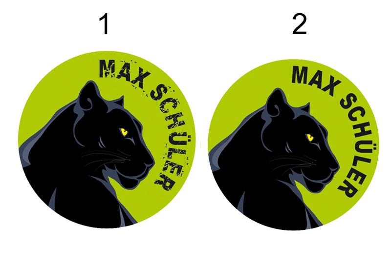 runde Namensaufkleber, Motiv: schwarzer Panther,  hochwertige, umweltfreundliche PVC-freie Folie
