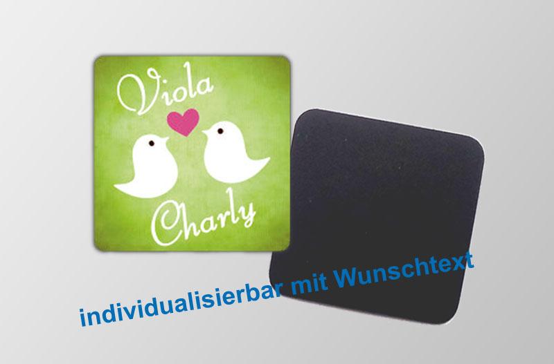 mit Wunschtext personaliserbare Magnetbilder- quadratisch - Motiv: Vögelchen mit Herz,  für Verlobungen, Hochzeiten, Einladungen, Gastgeschenke