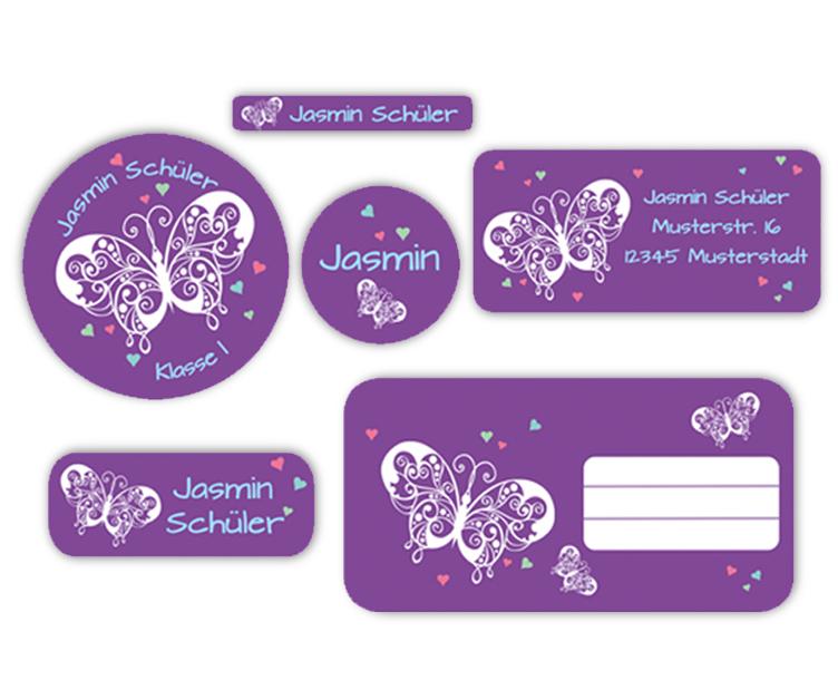 Schulaufkleber-Set - Motiv: Schmetterlinge mit Herzchen - Namensaufkleber, Stifteaufkleber, Adressaufkleber, Heftaufkleber,  hochwertige, umweltfreundliche PVC-freie Folie