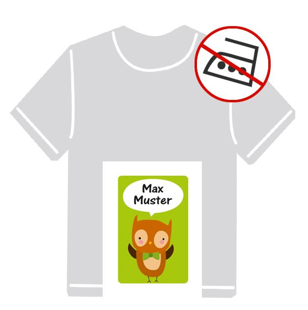 Kleidungsaufkleber für kurzfristige Markierung der Kleidung - ohne Aufbügeln - pvc-frei - Motiv: Kleiner Uhu