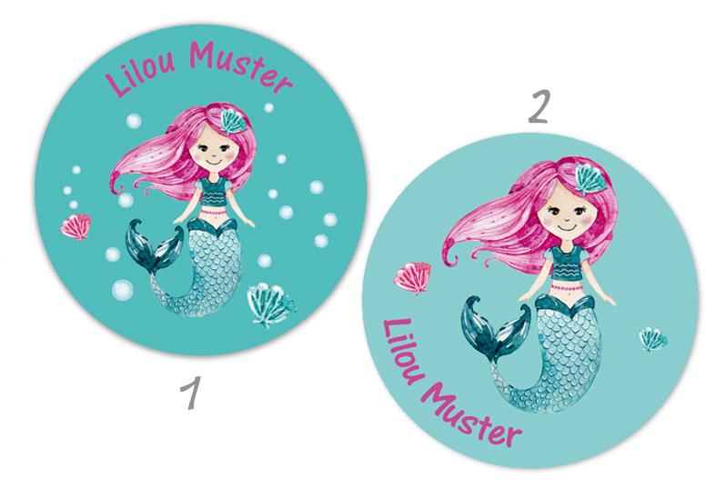 runde Namensaufkleber - Motiv: Meerjungfrau - hochwertige, umweltfreundliche PVC-freie Folie