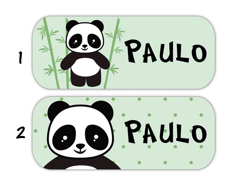 eckige Namensaufkleber, Motiv: Pandabär,  hochwertige, umweltfreundliche PVC-freie Folie, spülmaschinenfest