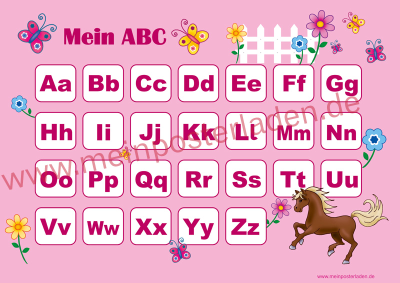 ABC Lernposter: Pferd Sternchen