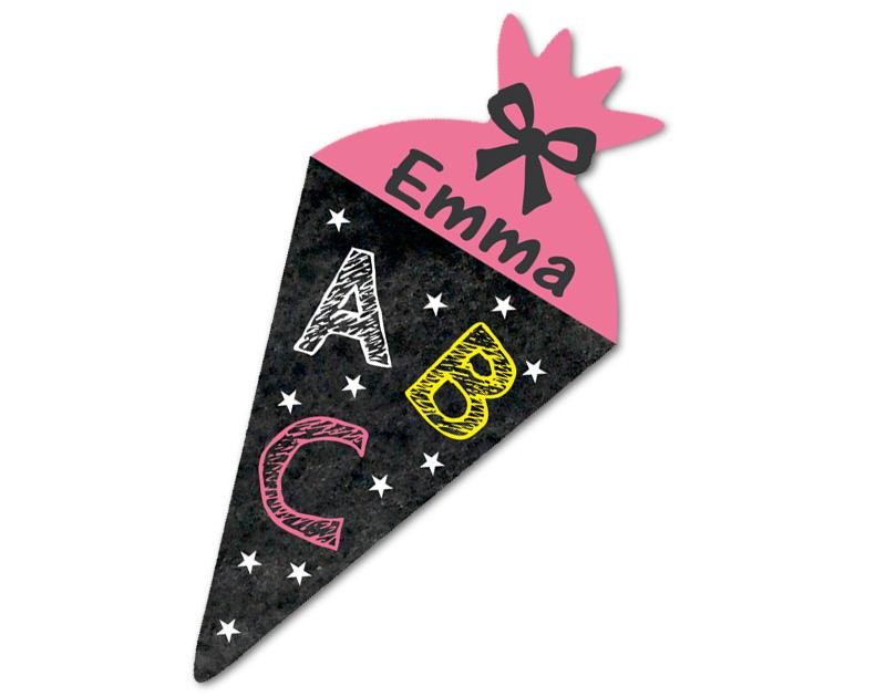 Form-Namensaufkleber für die Einschulung: Zuckertüte ABC im Chalkboard Stil - personalisierbar mit Wunschname - als Gastgeschenk, für Einladungen, Schulanfang, Einschulung,