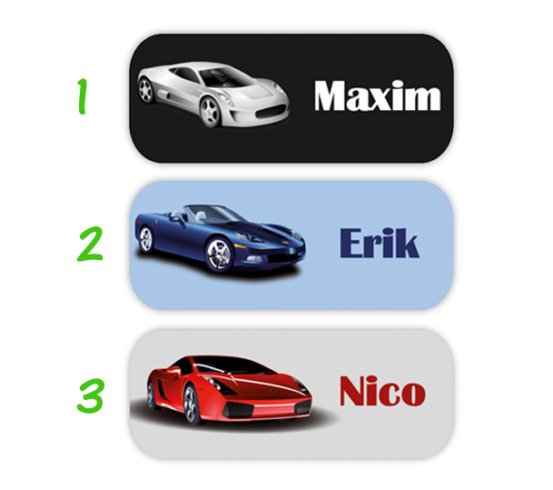 eckige Namensaufkleber, Motiv: Sportwagen, hochwertige, umweltfreundliche PVC-freie Folie