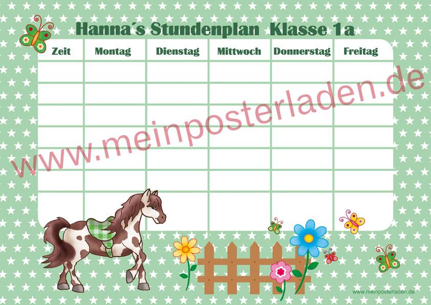 A4 Stundenplan mit Sternchen in hellgrün mit niedlichen Pony , Blumen und Schmetterlingen, optional wiederbeschreibbar