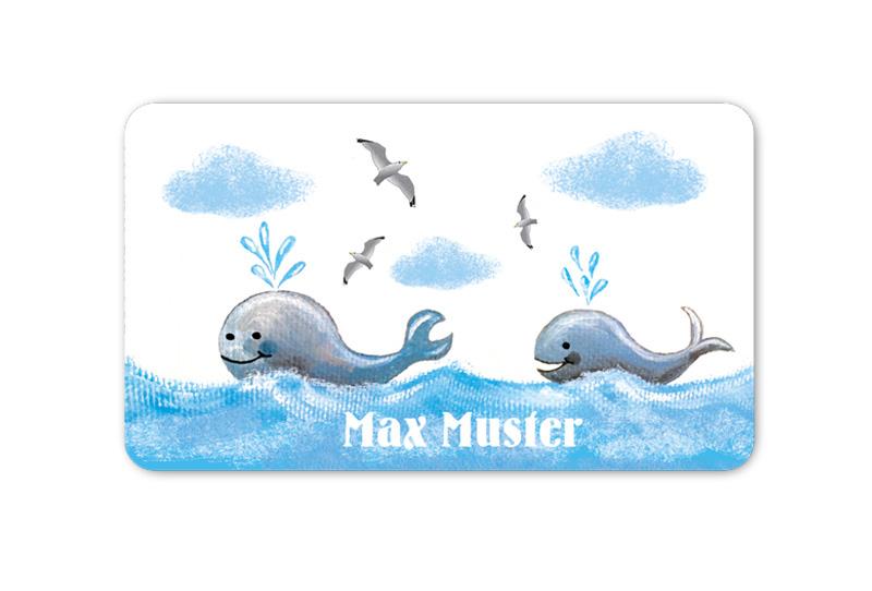 Brotdosenaufkleber 12 x 7 cm  - Motiv: Wale mit Möwen - hochwertige PVC-freie Folie, ungiftige Farben - mit Namen personalisierbar