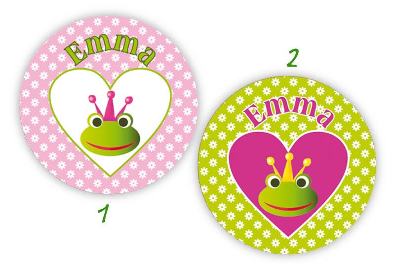 runde Namensaufkleber, Motiv: Froschkönigin,  hochwertige, umweltfreundliche PVC-freie Folie
