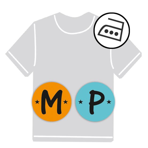 dauerhafte runde Bügeletiketten - auch personalisierbar mit Namen oder Initialen - für Kindergarten u. Schule - PVC frei -  Motiv: Buchstabe
