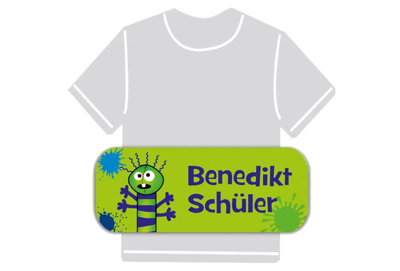 dauerhafte Bügeletiketten mit Namen für Kindergarten u. Schule - PVC frei -  Motiv: Farbklecks Monster