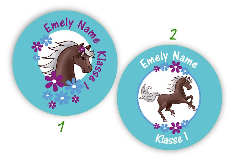 runde Namensaufkleber, Motiv: Pony mit Blümchen,  hochwertige, umweltfreundliche PVC-freie Folie