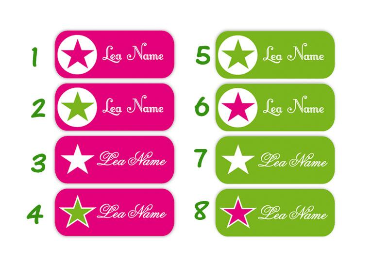 eckige Namensaufkleber, Motiv: Sterne, hochwertige, umweltfreundliche PVC-freie Folie