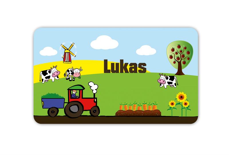 Brotdosenaufkleber 12 x 7 cm  - Motiv: Bauernhof - hochwertige PVC-freie Folie, ungiftige Farben - mit Namen personalisierbar