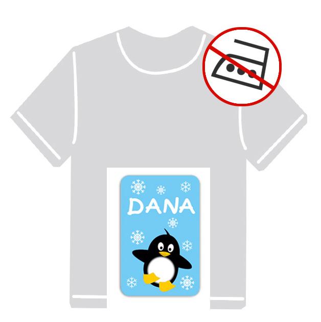 Kleidungsaufkleber für kurzfristige Markierung der Kleidung - ohne Aufbügeln - pvc-frei - Motiv: Pinguin