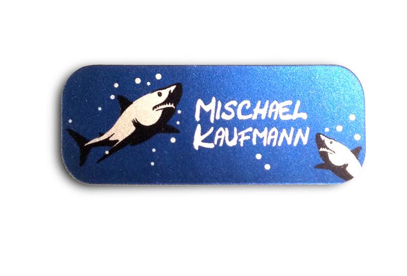 Silbermetallic Namensaufkleber: Hai