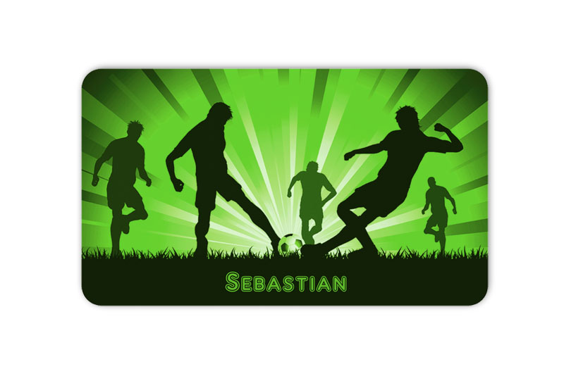 Brotdosenaufkleber 12 x 7 cm  - Motiv: Fußballspieler - hochwertige PVC-freie Folie, ungiftige Farben - mit Namen personalisierbar