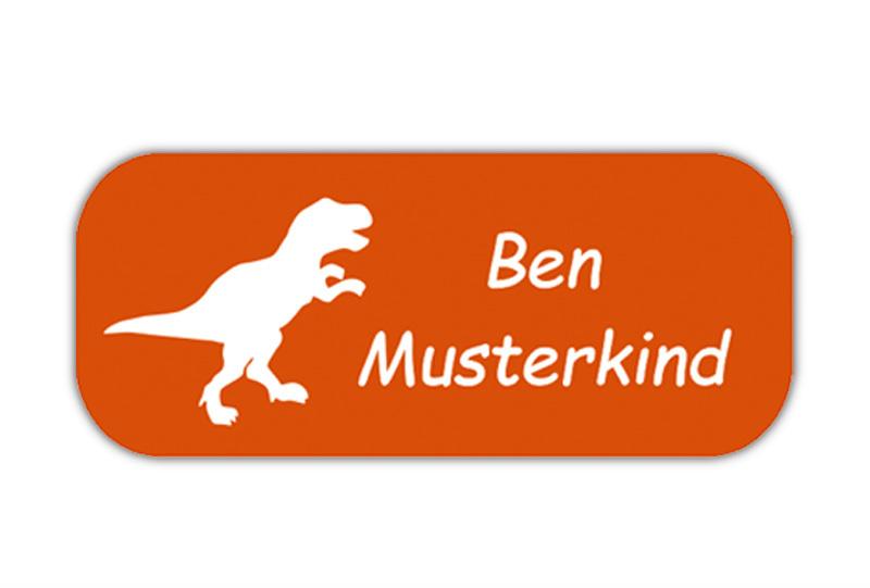 eckige Namensaufkleber, Motiv: Dinos, T-Rex, hochwertige, umweltfreundliche PVC-freie Folie
