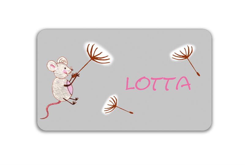 Brotdosenaufkleber 12 x 7 cm  - Motiv: Maus mit Pusteblumenschirmchen - hochwertige PVC-freie Folie, ungiftige Farben - mit Namen personalisierbar