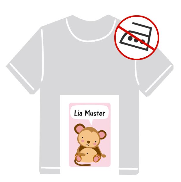 Kleidungsaufkleber für kurzfristige Markierung der Kleidung - ohne Aufbügeln - pvc-frei - Motiv: Kleiner Affe