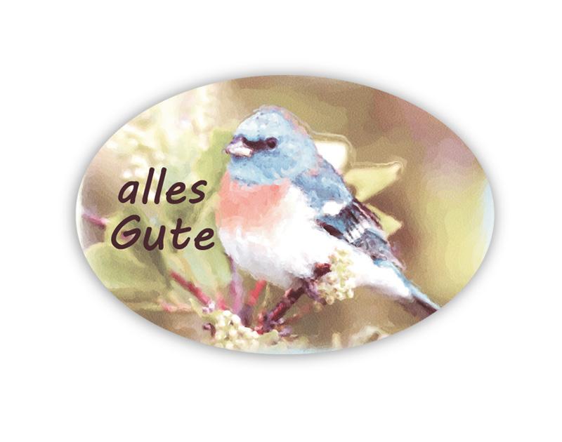 """Geschenkaufkleber - """"alles Liebe"""" mit niedlichem blauer Vogel im Aquarellstil - für Dankesbriefe, Briefe, Geschenke, Einladungen und kleinen Aufmerksamkeiten im Altag"""
