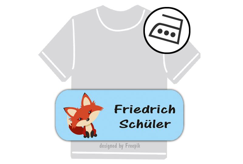 dauerhafte Bügeletiketten mit Namen für Kindergarten u. Schule - PVC frei -  Motiv: Fuchs