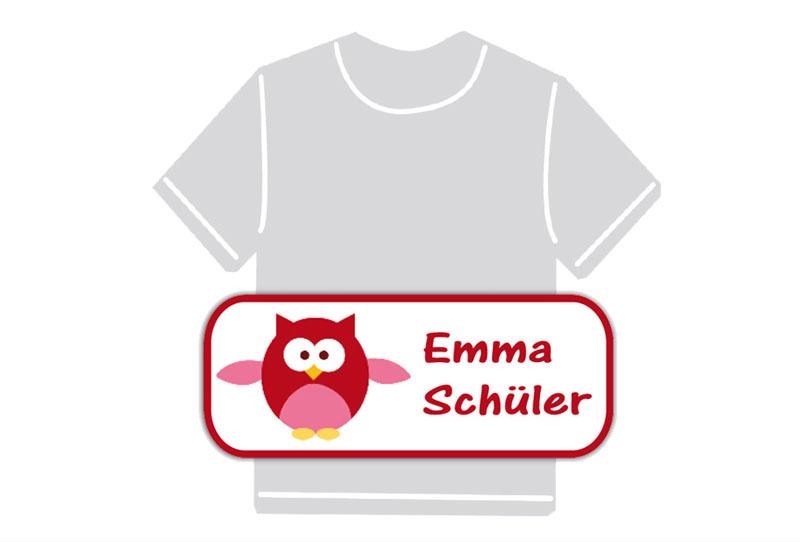 dauerhafte Bügeletiketten mit Namen für Kindergarten u. Schule - PVC frei -  Motiv: Eule