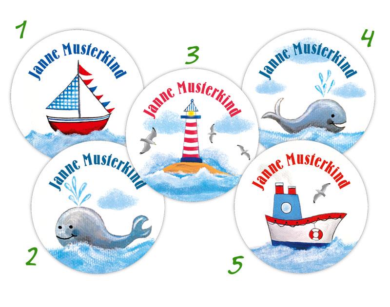 runde Namensaufkleber mit maritimen Motiv: Leuchtturm, Wale, Segelschiff, Dampfschiff, hochwertige, umweltfreundliche PVC-freie Folie