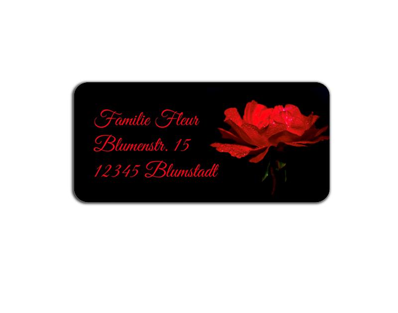 eckige Adressaufkleber mit romantischer roter Rose, auf umweltfreundlichen PVC-freien selbstklebenden Papier, wasserfest