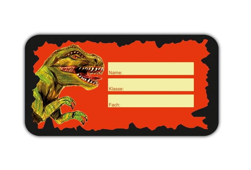 Heftaufkleber zum selber beschriften - Motiv: gefährlicher T-Rex - hochwertige, umweltfreundliche PVC-freie Folie