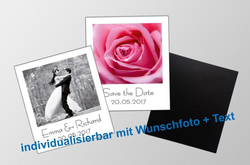 mit Foto und Wunschtext personalisierbare Magnetfotos - Polaroid - für Hochzeiten, Familienfeiern, Einschulung, Urlaub, Gastgeschenke