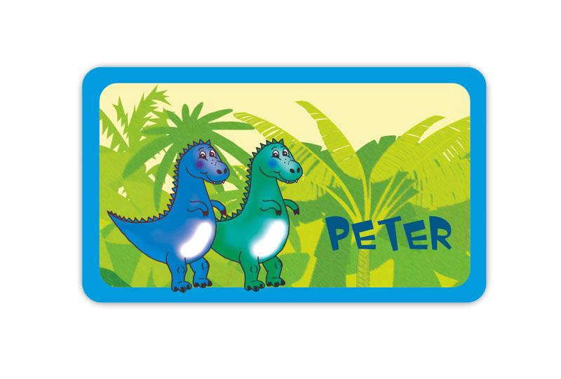 Brotdosenaufkleber 12 x 7 cm  - Motiv: Baby Dinos - hochwertige PVC-freie Folie, ungiftige Farben - mit Namen personalisierbar
