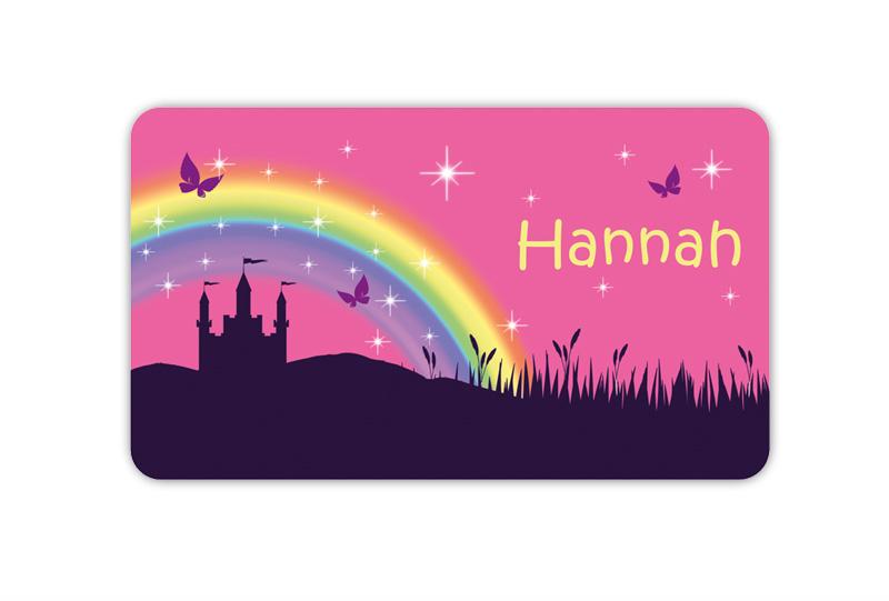 Brotdosenaufkleber 12 x 7 cm  - Motiv: Märchenschloss mit Regenbogen, Schmetterlingen und Glitzersterne - hochwertige PVC-freie Folie, ungiftige Farben - mit Namen personalisierbar