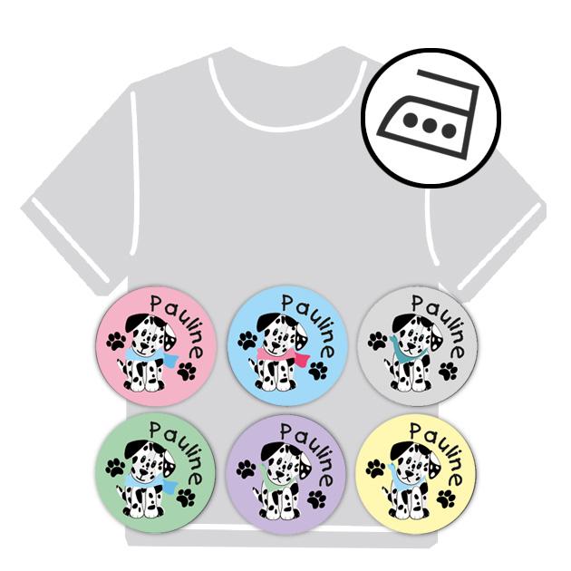 dauerhafte runde Bügeletiketten - auch personalisierbar mit Namen oder Initialen - für Kindergarten u. Schule - PVC frei -  Motiv: Dalmatiner