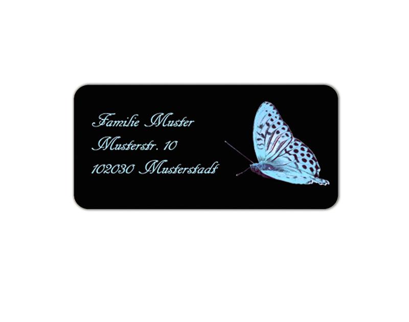 eckige Adressaufkleber mit blauen Schmetterling, auf umweltfreundlichen PVC-freien selbstklebenden Papier, wasserfest