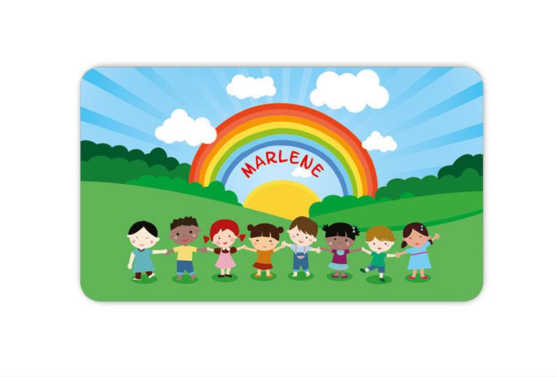 Brotdosenaufkleber 12 x 7 cm  - Motiv: Kinder der Welt - hochwertige PVC-freie Folie, ungiftige Farben - mit Namen personalisierbar