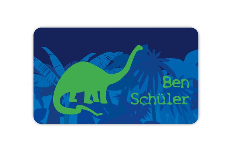 Brotdosenaufkleber 12 x 7 cm  - Motiv: Langhals Dino - hochwertige PVC-freie Folie, ungiftige Farben - mit Namen personalisierbar