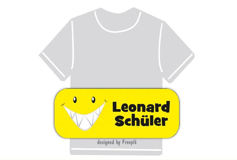 dauerhafte Bügeletiketten mit Namen für Kindergarten u. Schule - PVC frei -  Motiv: Smiley